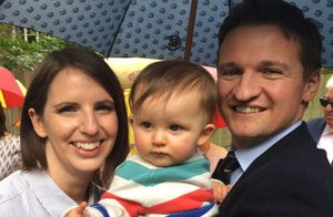 Ray Evans grandson Neil with his wife Jo and their baby Naomi
