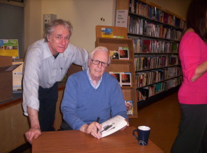 Ray signing books at Llanelli Regional Library